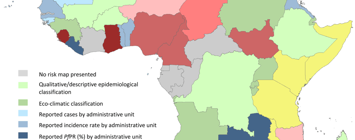 African malaria map and colour chart