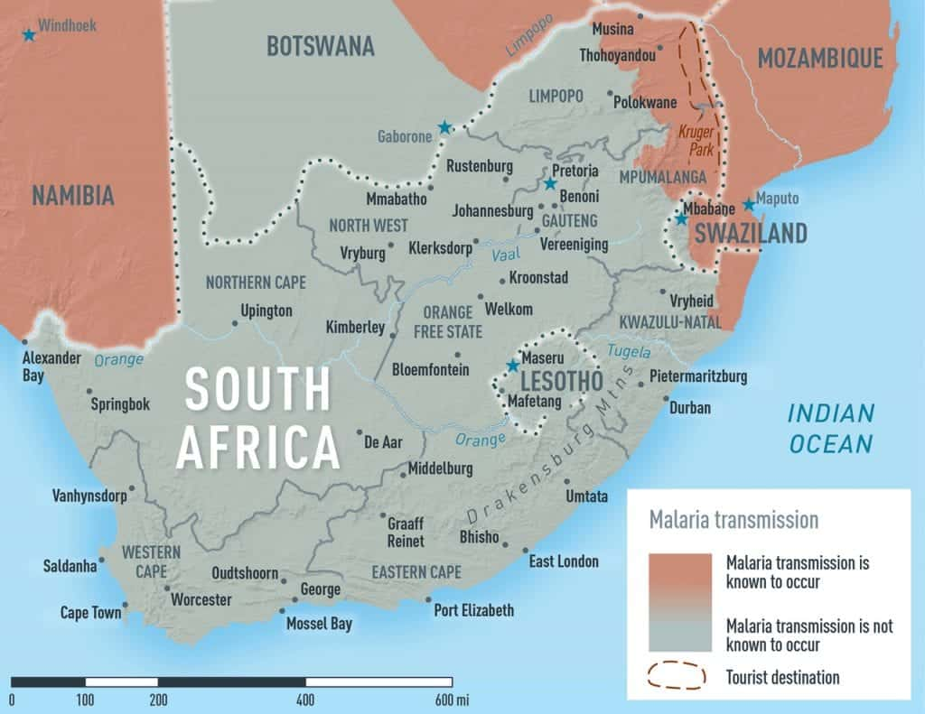 Malaria map for South Africa