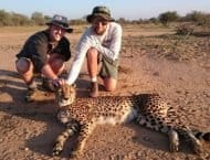 Guests on a walk with Cheetah in Greater Kruger Park