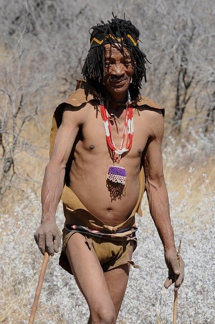 San Bushman In The Kalahari