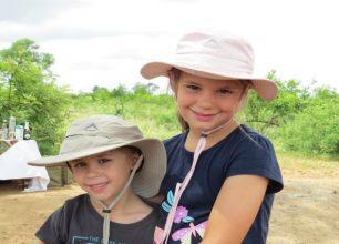 Shaun's kids on safari with him